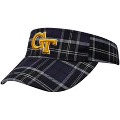 #GaTech Top of the World Georgia Tech Yellow Jackets Black Metro Plaid Adjustable Visor