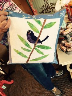 Adorable bird pillow found in shop at Country Village, Bothell, WA.