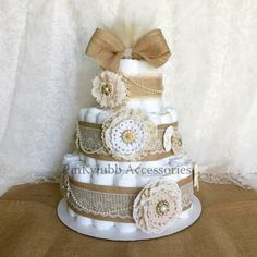 3 tier rustic - shabby chic burlap diaper cake Shower Gift / Baby Shower Centerpiece