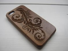 Iphone 5 wooden case - walnut / cherry or bamboo - Flower. $45.00, via Etsy.