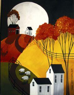 ORIGINAL-painting-folk-art-country-landscape-Autumn-moon-sheep-primitive-farm