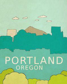 Urban Loft Chic Home Room Decor or Nursery Art for Kids - Portland Oregon 8x10 - Modern Travel City Skyline Typography Poster on Etsy, $18.00