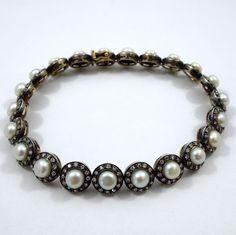 Vintage 1940s Pearl & Diamond Two Tone Bracelet. $2,200