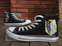 Attack On Titan Black Sneakers Custom Hand Painted Fashion Canvas Shoes