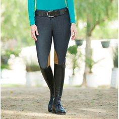 The Tailored Sportsman Denim Knee Patch Breech is a must have for any TS enthusiast! This microfiber denim look breech will complete any stylish schooling outfit and will. Tailored Sportsman, Must Haves, Leather Pants, Patches, Suits, Denim, Stylish, Equestrian, Tops
