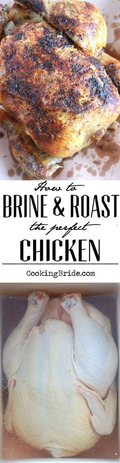 Tips and tricks for brining and roasting the perfect chicken. ( I had to cook my… Tips and tricks for brining and roasting the perfect chicken. ( I had to cook my chicken a little longer than this person cooked theirs…maybe I need a new oven, lol) Turkey Recipes, Vegetarian Recipes, Chicken Recipes, Dinner Recipes, Dinner Ideas, Meal Ideas, Chicken Meals, Fried Chicken, Food Ideas