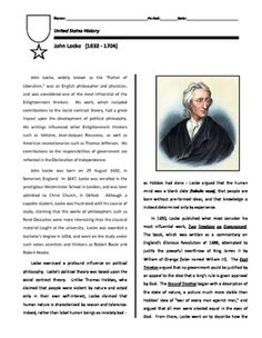 """Short biography on John Locke, focusing on his Two Treatises of Government.  Believing that man was born with a """"blank slate"""" (tabula rasa) and was essentially good by nature, Locke argued that the only true governments were those who ruled with the consent of the people."""