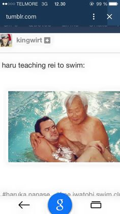 LOL! Haru teaching Rei to swim.