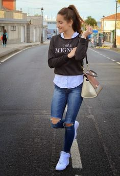 Outfits-Casuales-Juveniles - beauty and fashion ideas fashion trends, latest fashion ideas and style tips Beauty And Fashion, Look Fashion, Fashion Outfits, Latest Fashion, Fashion Ideas, Spring Outfits, Winter Outfits, Casual Outfits, Casual Jeans