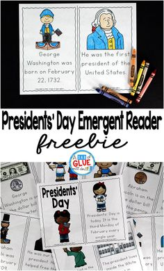 Presidents' Day Emergent Reader is the perfect addition to your social studies lesson plans this February. This free printable is great for preschool, kindergarten, and first grade students. Preschool Kindergarten, Social Studies For Kindergarten, Social Studies Lesson Plans, Kindergarten Freebies, Social Studies Activities, Teaching Social Studies, Presidents Day Kindergarten Crafts, Class Activities, Reading Activities