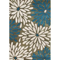 This contempoarary rug features genuine New Zealand hand-washed, hand-carved and hand-shaved wool. The bright floral rug has a pile height of 0.70 inches.