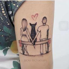 Casal sentado no banco junto com… Dream Tattoos, Dog Tattoos, Sexy Tattoos, Tattoos For Women, Tatoos, Cat And Dog Tattoo, Cat Tattoo, Family Tattoos, Couple Tattoos