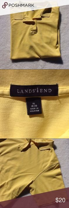 Land's End yellow polo shirt Short sleeves, collar, two button front, bottom side slits. 100% cotton, machine wash warm. Pre-loved condition with no visible rips, stains, or tears. Lands' End Shirts Polos