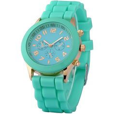 Zodaca Mint Green Analog Quartz Silicone Jelly Sports Watch ($9.69) ❤ liked on Polyvore featuring jewelry, watches, green, mint green watches, analog wrist watch, sport watch, jelly silicone watches and analog watches