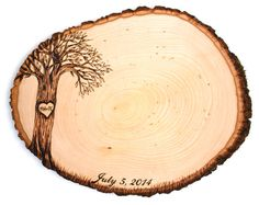 Script Date Design: Wood slice rustic theme wedding guest books. Personalized on Etsy, $54.99