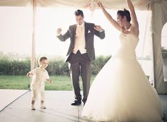 mister, miss and son, outdoor wedding, bride and groom