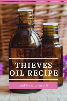How to make a Thieves oil blend recipe.  This homemade essential oil blend is said to kill germs in the air and on surfaces. Learn the uses and benefits to use this as a cleaner and in a diffuser. This includes a diffuser blend and a cleaner spray and other recipes to use your DIY Thieves oil.  There are only 5 ingredients.  Use when you have a cold or flu to kill germs in your home. #essentialoils #thievesoil