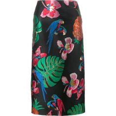 Valentino Valentino Tropical Dream Jacquard Skirt featuring polyvore, women's fashion, clothing, skirts, black, straight skirt, jacquard skirt, multicolor skirt, print skirt and valentino skirt