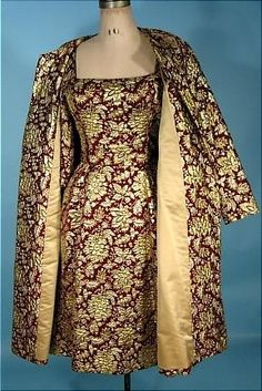 Late 1950s/early 1960s SCAASI Cranberry and Gold Metallic Brocade Dress with Matching Swing Coat.