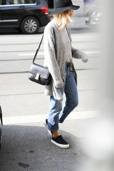 Denim, cardigan,  hat and sneakers.