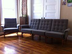 Vintage FRANCE U0026 SON Danish Modern 1960s Sectional / Modular Sofa +  Armchair