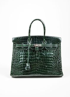 "Dark Green Hermes Crocodile Porosus Shiny Leather ""35cm Birkin"" Bag"