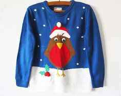 Blue Knitted Ugly Christmas Sweater Christmas Bird Blue Winter Cardigan Stockings Blue Cosby Jumper Size Small Knitted Festival Jumper