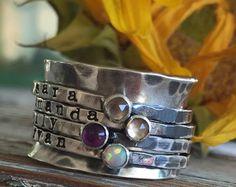 mano estampado piedra plata spinner anillo por cinnamonsticks