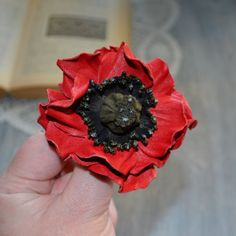 Brooch red poppy leather flower brooch red by jewelryleather