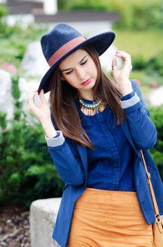 MaryPolka   A Fashion and Lifestyle Blog http://marypolka.com/fall-mode/ @dresslink  #ootd #fashion #fashionista #fashionblogger #zara #zarashirt #breakingbad #jeans #chanel #blazer #bluehat #denim #falloutfit #brownskirt #necklace #dresslink #statementnecklace #chic #casual #outfit #outfitoftheday #style #inspiration #outfitinspiration #streetstyle #streetstylefashion