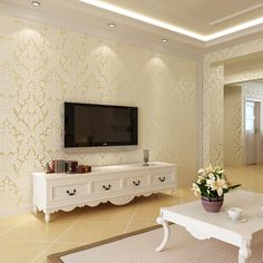 European-style three-dimensional non-woven flocking wallpaper bedroom living room sofa backdrop beige wallpaper Damascus
