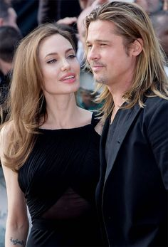 Brad Pitt and Angelina Jolie arrive for the World Premiere of World War Z at a central London cinema, Sunday, June (Photo by Joel Ryan/Invision/AP) Angelina And Brad Pitt, Angelina Jolie Photos, Brat Pitt, Oklahoma Usa, Jolie Pitt, Movie Couples, Actrices Hollywood, Cute Actors, Beautiful Boys