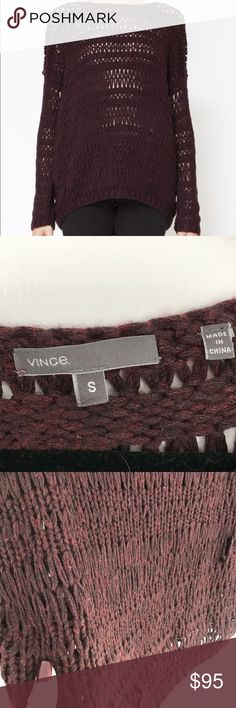 """Vince Loose Knit Distressed Sweater Maroon/Wine, size small, loose knitted distressed Vince Sweater. There are a couple places where it is pulled but it goes along with the look of being """"distressed"""". Make an offer and bundle for discount! Smoke free pet free home.  * Fabrication: Marled open-knit. * 43% acrylic/25% wool/17% nylon/15% viscose. * Hand wash or dry clean. Vince Sweaters"""