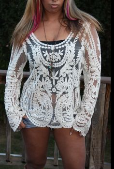Bohemian Lace Tunic Crochet Style Beige Floral Lace by AlixJoshua, $46.00