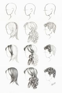 How to draw hair. Straight, curly and short. now all I have to do is remember I pinned this....