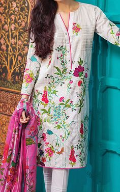 Buy Off-White Embroidered Cotton Lawn Dress by Khaadi 2016 Pakistani Formal Dresses, Pakistani Fashion Casual, Pakistani Dress Design, Pakistani Outfits, Kurti Designs Party Wear, Dress Designs, Women's Fashion Dresses, Casual Dresses, Gala Design