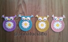 Flower owl coasters ... by Emma Du | Crocheting Pattern - Looking for your next project? You're going to love Flower owl coasters -original pattern by designer Emma Du. - via @Craftsy