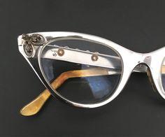 e238febaf62 Rhinestone CatEye Glasses HighGloss Aluminum Chromey Sunglasses Embellished  Metal A bit Larger VTG Eyeglass Frame Hollywood Screen Star