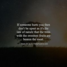 Best Positive Quotes : If someone hurts you then don't be upset as it's the law of nature. via (Think… Hazrat Ali Sayings, Imam Ali Quotes, Muslim Quotes, Religious Quotes, Beautiful Islamic Quotes, Islamic Inspirational Quotes, Motivational Quotes, Quran Verses, Quran Quotes
