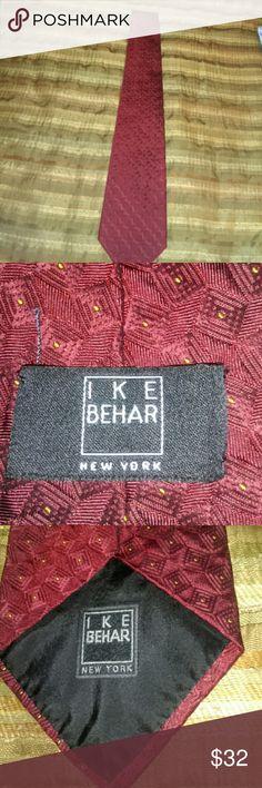 IKE Behar Necktie Mens Gently used...nice...crimson n gold dots Ike Behar Accessories Ties
