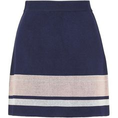 TOPSHOP Modern Stripe Skirt ($68) ❤ liked on Polyvore featuring skirts, navy blue, knee length a line skirt, blue a line skirt, topshop, crop skirt and a-line skirt