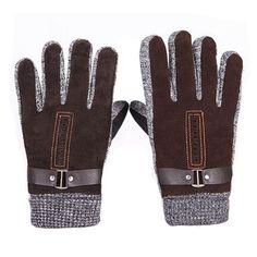 Men's Winter Warm Pigskin Knitting Buckle Fingers Gloves,Brown