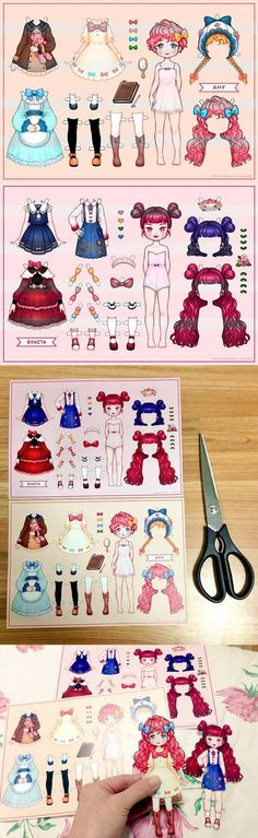 My paper dolls by Paper Dolls Clothing, Barbie Paper Dolls, Vintage Paper Dolls, Doll Clothes, Paper Art, Paper Crafts, Drawing Anime Clothes, Paper Dolls Printable, Anime Dolls