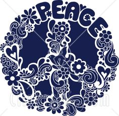 22240-Clipart-Illustration-Of-A-Blue-Floral-Peace-Sign-With-A-Dove ...