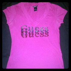 Guess ombre purple bling sequin v-neck shirt Adorable. So blingy. Purple ombre Sequin. Dark magenta purple. V neck.  Perfect condition.  No rips stains or tears. Guess Tops Tees - Short Sleeve