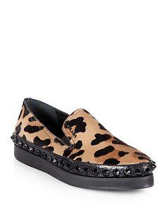 studded leopard platform loafers