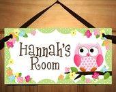 DOOR SIGN Owls Love Flowers Girls Bedroom and Baby Nursery Kids Bedroom Wall Art-Cute