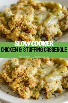 Make the best slow cooker chicken and stuffing as a great comfort meal in the slow cooker or crockpot. It's also easy to make gluten-free too! #SlowCooker #NinjaFoodi #EasyDinner #ComfortMeal