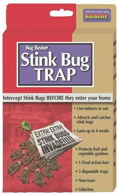 Disposable Stink Bug Traps - Our Disposable Stink Bug Traps work both indoors and out to protect your home and garden from the exploding population of stink bugs around the country. The dual action pheromone lure is contained in a controlled release dispenser and lasts 4 weeks. The all natural, non-toxic, odorless lure attracts and traps both Brown Marmorated and Green Stink Bugs within a 50 ft radius. Traps may be used to protect garden crops from stink bug damage or in the home to help elimin…