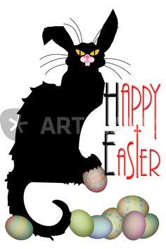 """""""Le Chat Noir - Easter"""" Mixed Media von gravityx9 jetzt als Poster, Kunstdruck oder Grußkarte kaufen.."""